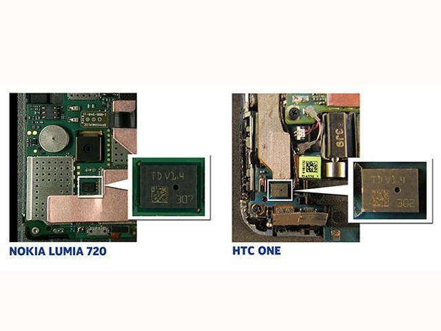诺基亚指出,新 HTC One 采用的 HDR 麦克风芯片是由其发明且仅供自家产品使用,STMicroelectronics 公司一脚踏两船的行为严重违反了 NDA(开发者保密条款)有关规定。从图中可看出,NOKIA Lumia 720 采用的双振膜麦克风技术与新 HTC One 的 HDR 麦克风芯片是一样的。 (图片来源: