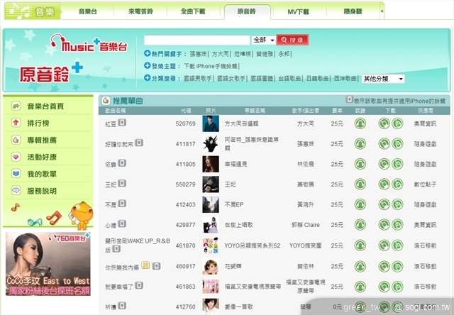 中華電信為目前唯一提供iPhone鈴聲合法下載的電信業者,透過emome iPhone鈴聲專區,即可立刻下載包括蕭敬騰、陶?、周杰倫、方大同、張惠妹等最新最夯的流行歌曲等,另外還有經典老歌與搞笑鈴聲的選擇